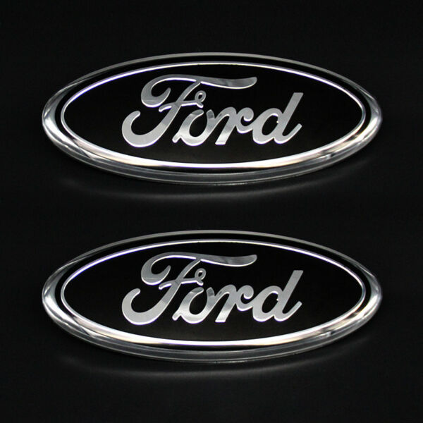 2× FOR FORD F150 F250 LOGO 9INCH BLACK OVAL FRONT GRILLE & REAR TAIL GATE EMBLEM