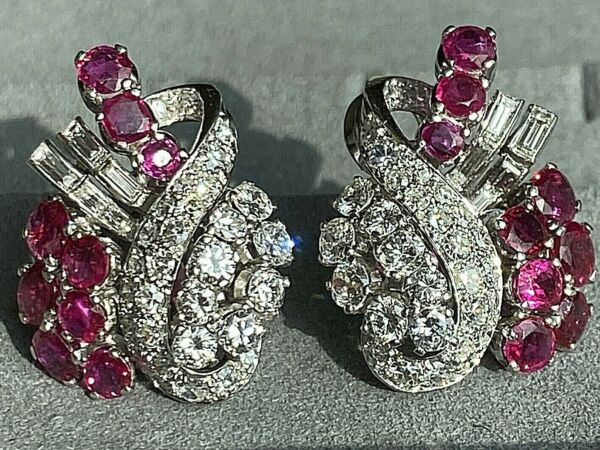 Klafter Platinum Diamond Ruby Ribbon Spray Scroll Earrings Mid-Century Vintage