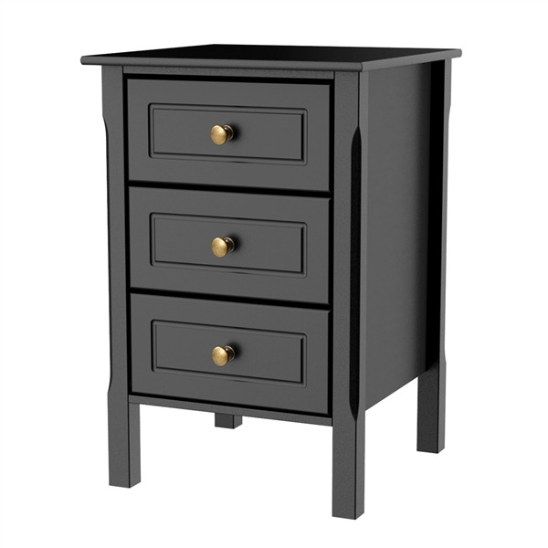 Nightstand Accent End Side Bedside Table Bedroom Living Room 3 Drawers