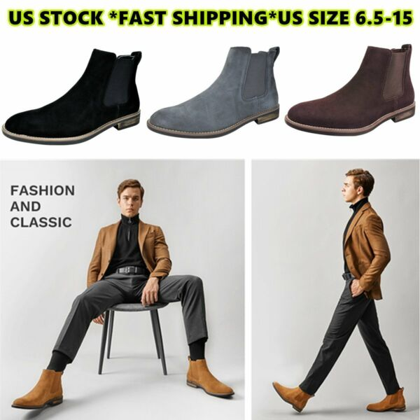 BRUNO MARC Mens Flat Suede Leather Chelsea Chukka Dress Ankle Boots Casual Shoes