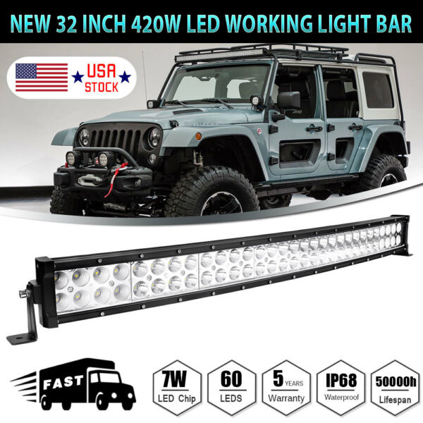 32inch 420W Curved LED Work Light Bar Combo Boat For Jeep Offroad Lamp PK 30 34