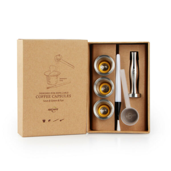 Stainless Steel Recaps Refillable Coffee Capsules Pods For Nespresso Machines