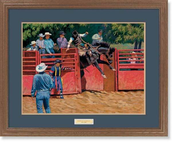Taken by Surprise - Rodeo GNA Premium Framed Print by Mia Lane