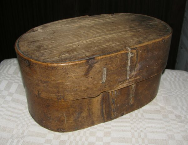 Antique primitive bent wood shaker style pantry box Lithuania Europe 1800 early