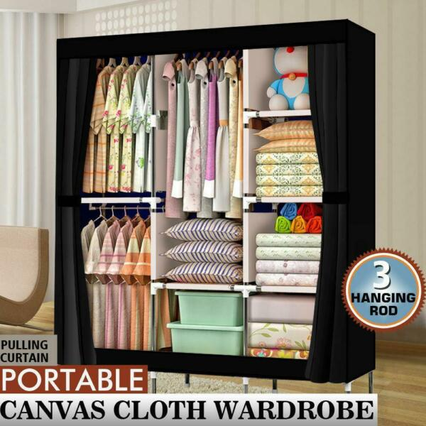 71quot; Portable Closet Wardrobe Clothes Rack Storage Organizer with Shelf Black