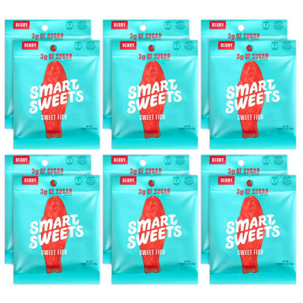 SmartSweets Sweet Fish Box of 12 Bags NEW Smart Sweets plant based candy $37.99