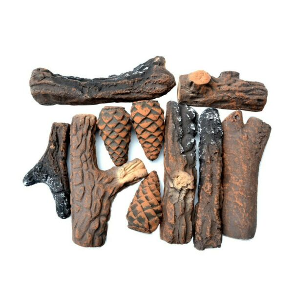 Stanbroil Fireplace 10 Piece Set of Ceramic Wood Logs for All Types of Ventle...