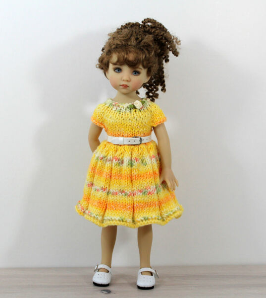 Knitted dress with belt for Little Darling Dianna Effner Dolls. Handmade.