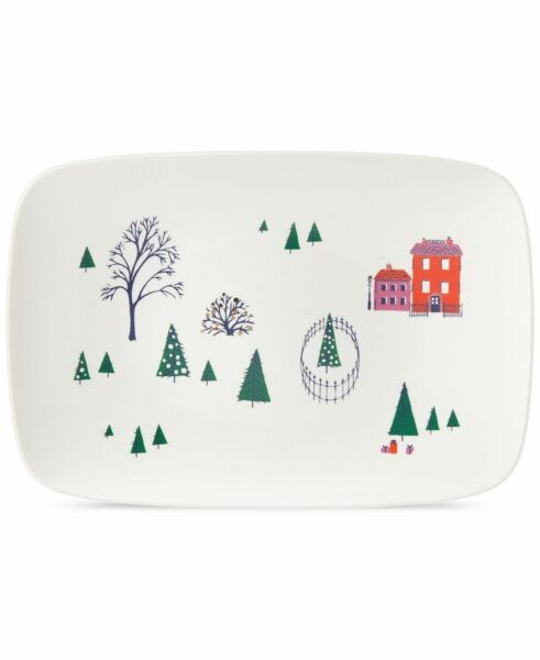 Lenox Kate Spade New York Oblong Serving Platter Holiday Arbor Village 15.75 NEW