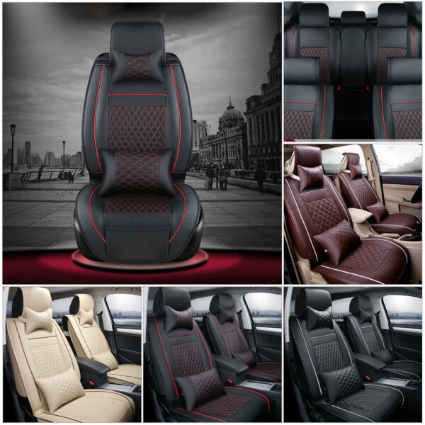 US 100% PU Leather Car Seat Cover 5-Seats SUV Front & Rear Cushion Set w/Pillows