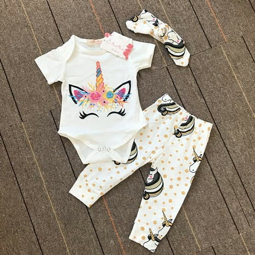 NWT Unicorn Baby Girls Bodysuit Sparkle Gold Polka Dot Pants Headband Outfit Set