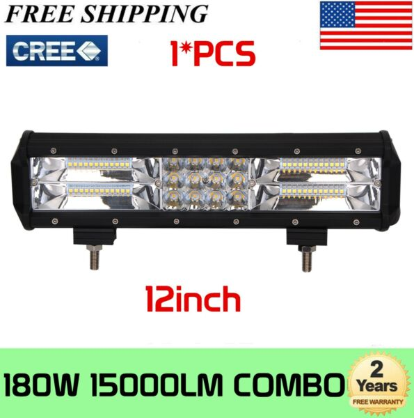 12quot; 180W LED Work Light Bar Tri row Spot Flood Combo SUV Boat Offroad Truck Ford