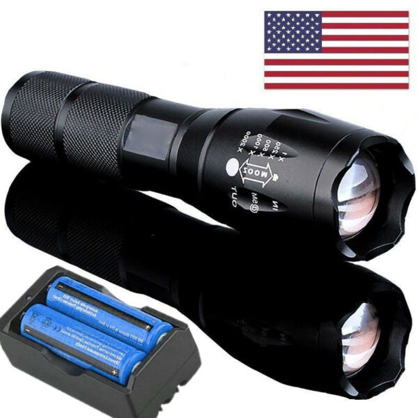 9000000LM 5 Modes LED Flashlight Zoomable 18650 Rechargeable Focus Torch Light