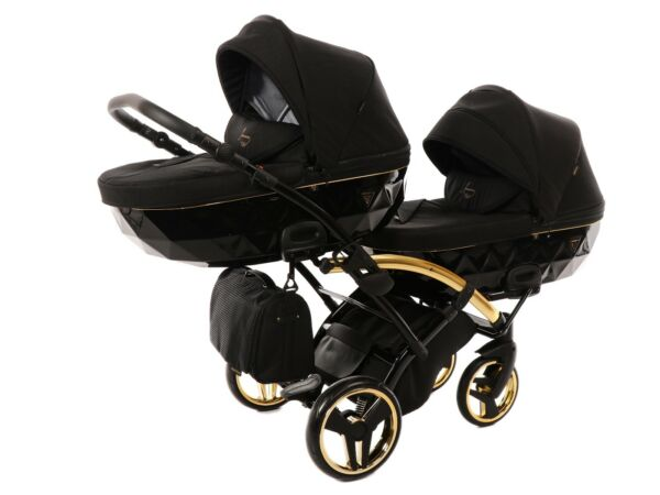 Premium Twin Pram Junama Diamond S Duo SLIM Gold Black Double Buggy Baby Twins