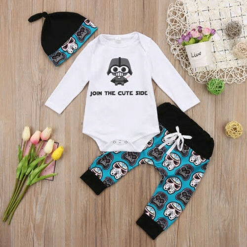 NWT Baby Boy Star Wars Darth Vader Join the Cute Side Bodysuit Pants Hat Outfit