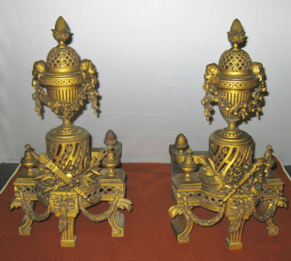 PAIR19c BRONZE VERY ORNATE FIREPLACE ANDIRONS MADE c.1830s