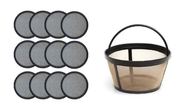 12 Water Filter Disks for Mr. Coffee Machines Reusable Basket Coffee Filter