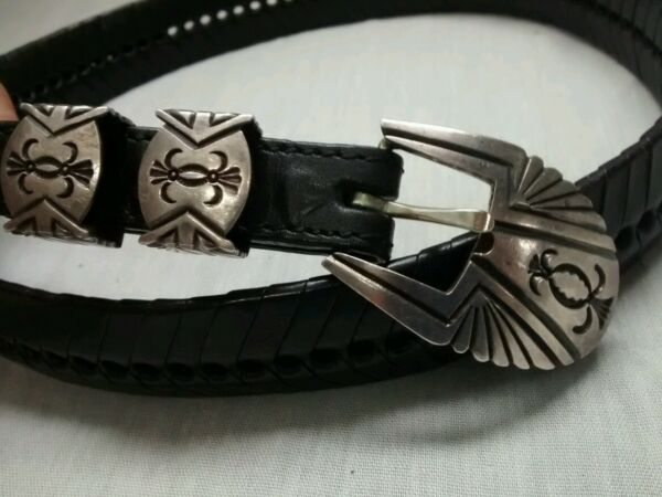 Rare Sammie Kescoli Native American Navajo sterling stamp buckle belt