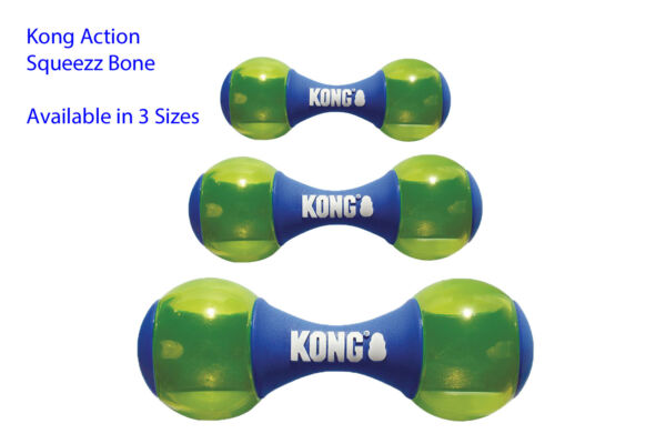 KONG Squeezz Action Dumbbell Dog Toy Blue   Free Shipping