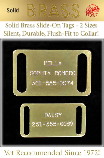 Large Solid Brass Slide On Collar Pet Dog Identification Name Tags Custom ID Tag $4.95
