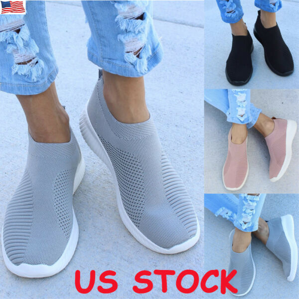Women Ladies Mesh Comfy Sock Shoes Pull On Breathable Running Sneaker Trainers