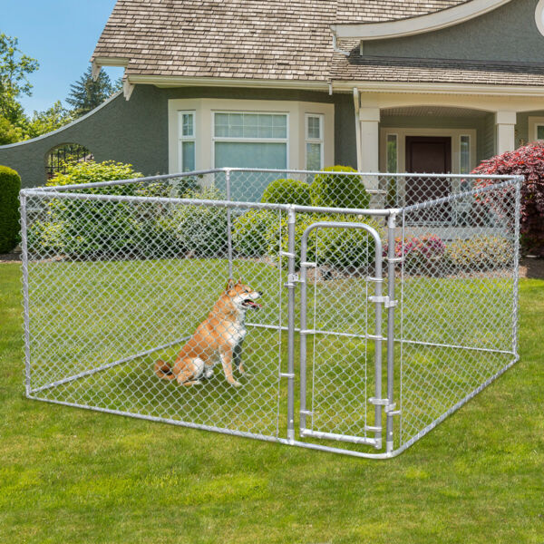 48'' H Dog Kennel Steel Wire Outdoor Heavy Duty Pet Cage Pen Run House Fence