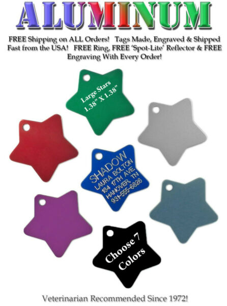 STAR Pet Dog Cat Identification Name Tags Custom Engraved ID Tags 7 Colors $3.45