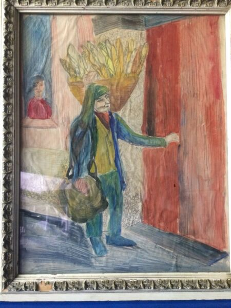 Art Painting Watercolor And Pencil In Paper Is Signed By Linda Sutin 1958