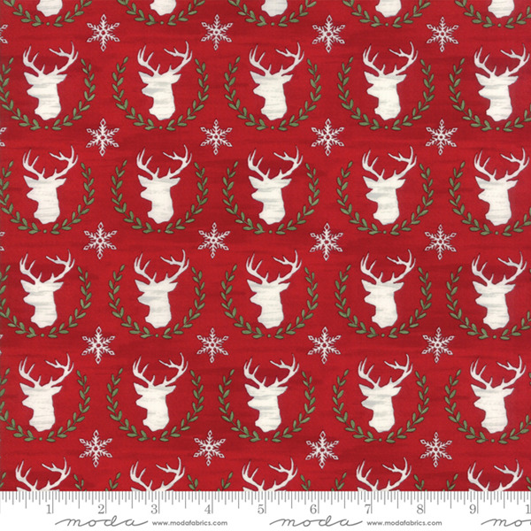 Hearthside Holiday Red Deer 19832 14 Moda Fabric Christmas by the 1 2 yard
