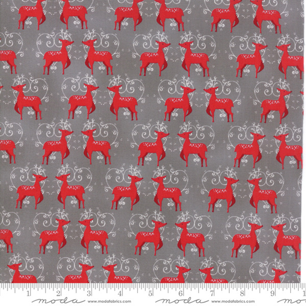 Sno by Hatling Grey Red Deer 39721 15 Moda Fabric Christmas by the 1 2 yard