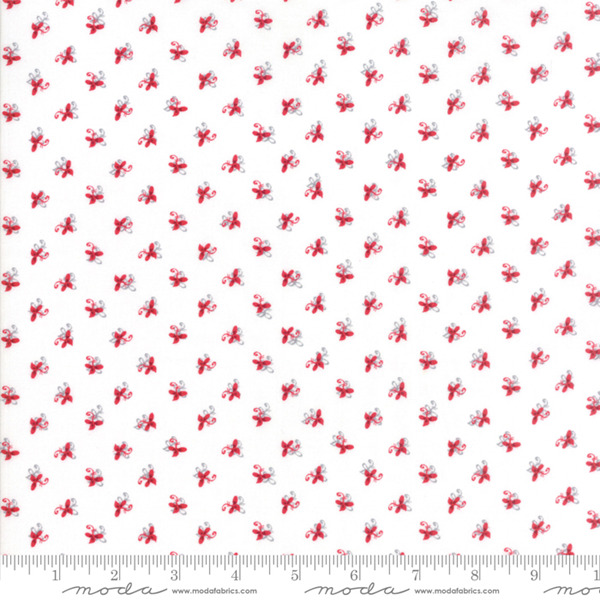 Sno by Hatling White Red Floral 39724 11 Moda Fabric Christmas by the 1 2 yard