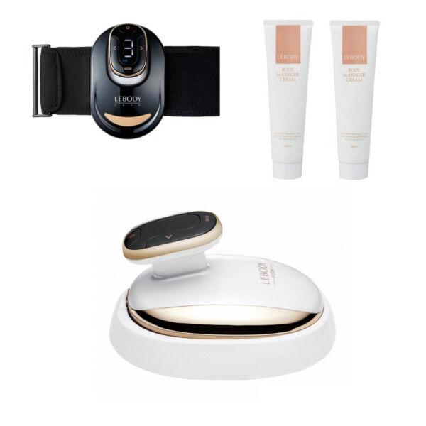 LEBODY Form Mid-Frequency Body Massager Device+Belt+Fit Massage Cream Full Set