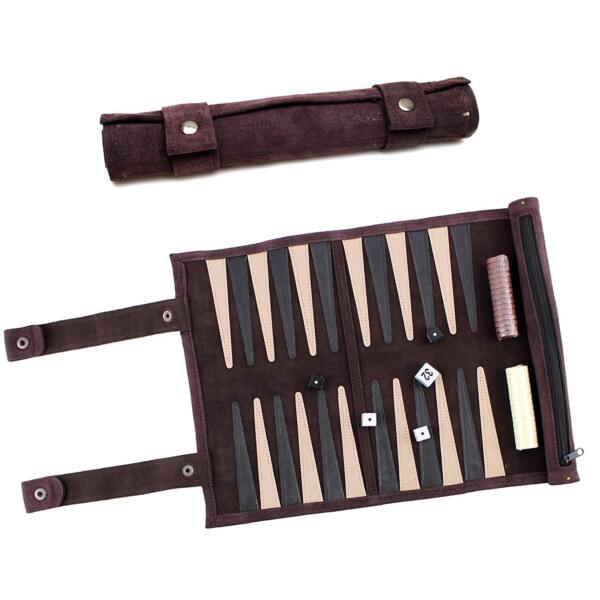 13quot; Dark Brown Suede Leather Rolled Portable Lightweight Backgammon Game Set