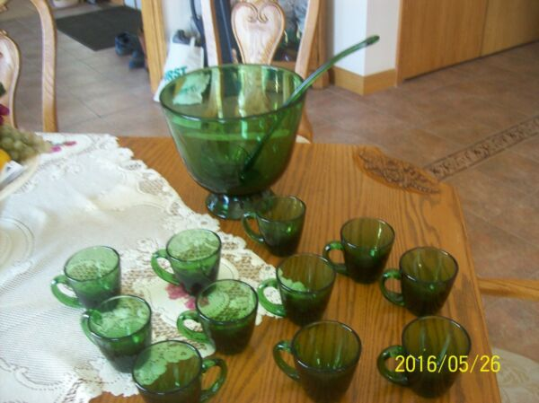 Punch Bowl  Blown Antique Emerald Green Footed & Ladle & 11 Glasses Stunning!!