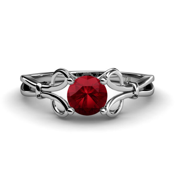 Ruby Womens Solitaire Engagement Ring 0.95 ct 925 Sterling Silver JP:34480
