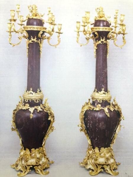 Antique 19th C Pair of French Gilt Bronze Marble Torchieres Floor Candelabras