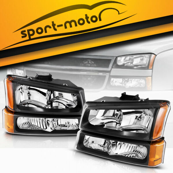 For 2003-2006 Chevy Silverado Avalanche Headlights + Bumper Signal Parking Lamps
