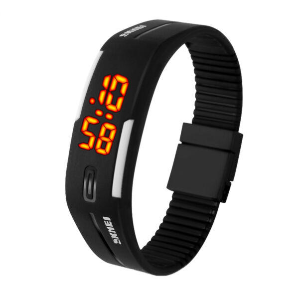 Waterproof LED Digital Silicone Sport Wristwatch Men Women Bracelet Watch Gift