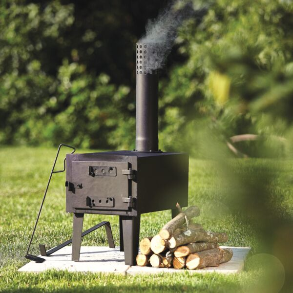 Outdoor Wood-Burning Steel Stove Fireplace Burner Heater Camping w Chimenea