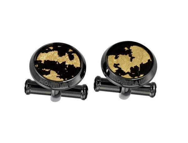 MONTBLANC BLACK STAINLESS STEEL CUFFLINKS GOLD LEAF NEW NO BOX GERMANY 112907