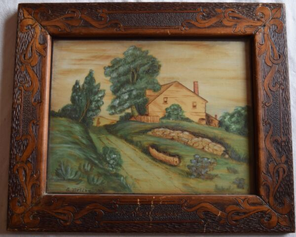 G. Welday pyrography painting & frame amazing folk art