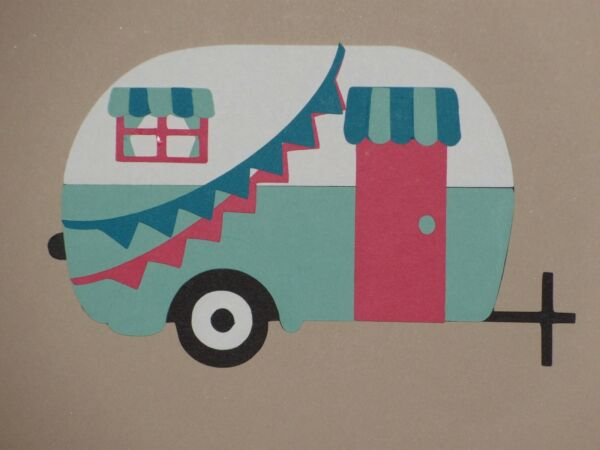 Camper trailer 3quot; x 4 7 8quot; scrapbook die cuts greeting card die cut $1.29