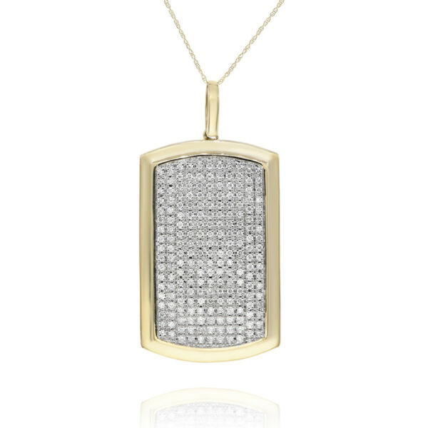14K YELLOW GOLD 1.80C PAVE DIAMOND MILITARY DOG TAG PENDANT NECKLACE