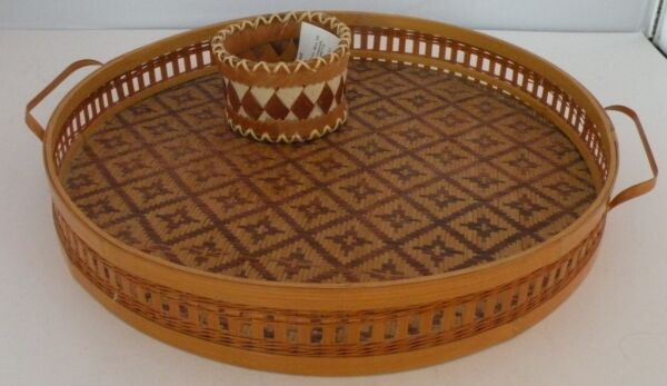 Shungnak Native American Birch large tray & Bark Basket by Sophie Cleveland