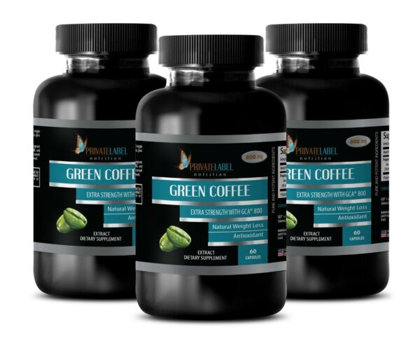 Green Coffee Bean Extract GCA 800 - Detoxify Your Body Fat Burner Pills - 3 Bot
