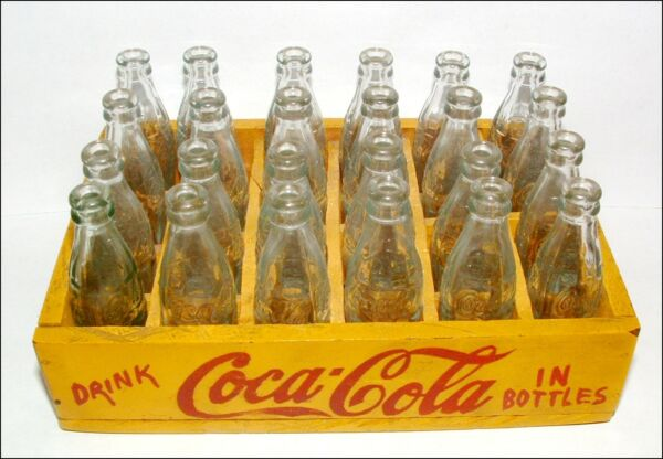 24 VINTAGE MINIATURE COCA-COLA HOBBLE-SKIRT GLASS COKE BOTTLES IN WOODEN CRATE