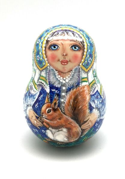 Snowmaiden w Squirrel Roly Poly Russian Hand Carved Hand Painted noNesting DOLL