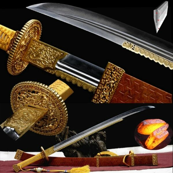 Chien-lung Emperor Military Parade Defense Sword Wrought Iron Steel Blade #555