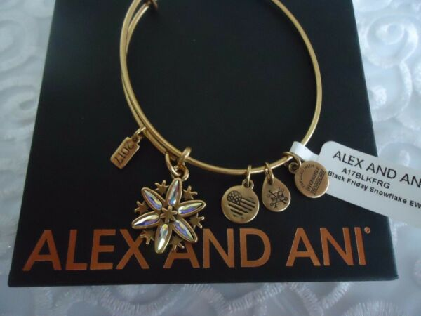 Alex and Ani BLACK FRIDAY SNOWFLAKE 2017 Gold Bangle New WTag Card