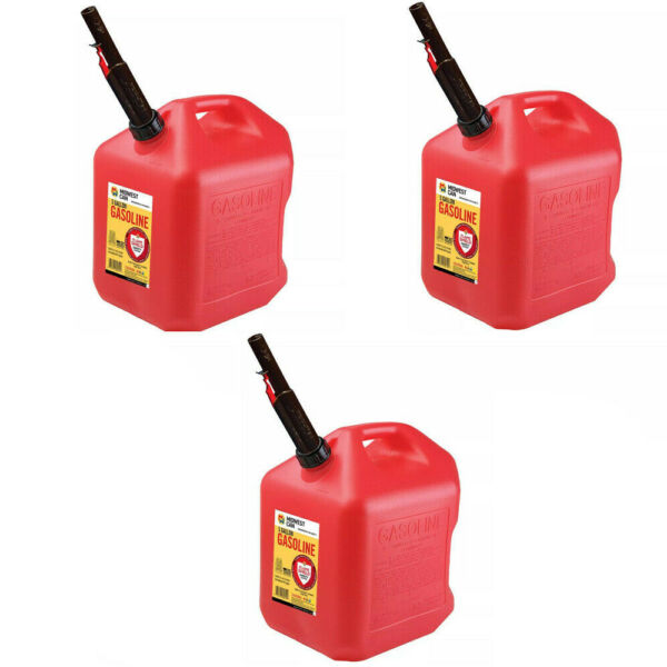 Gas Cans 5 Gallon each 3 Pack Plastic Will Not Corrode or Rust BRAND NEW $84.99